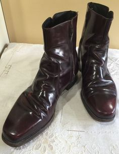 e5ce0a63a611 Vtg Florsheim Size 10 5 E Boots Side Zip Ankle Shoes Burgundy Leather  Hipster