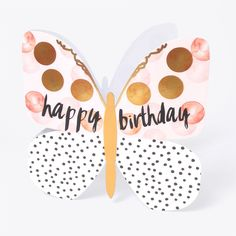 """Beautiful butterfly birthday card, with caption: """"Happy birthday"""""""
