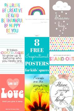 A wonderfully, inspiring collection of prints and posters perfect for kids' space. All free to download and print.