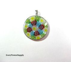Millefiori Glass Pendants, Flower Pendants, Focal Beads, Floral Necklace Pendant by IvoryTowerSupply on Etsy