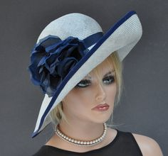 Wedding Hat, Derby Hat, Ladies Navy Hat, Ladies Gray Hat, Wide Brim Hat, Formal Hat, Dressy Hat, Church Hat, Ascot Hat, Big Hat Ocassion Hat Kate Middleton Hats, Mother Of The Bride Hats, Derby Attire, Royal Ascot Hats, Funky Hats, Navy Hats, Flapper Hat, Stylish Hats, Kentucky Derby Hats