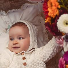 Vintage style inspired Christening bonnet handknitted of Van Beren Organic Cotton Yarn for baby girls and toddler Outfit For Christening, Baby Christening, Cotton Plant, Organic Cotton Yarn, Natural Clothing, Hand Knitting, Vintage Fashion, Van, Textiles