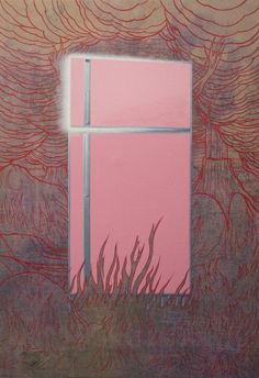 Jim Shaw (American, b. 1952), Refrigerator in Hell #1, 2015. Acrylic on muslin, 64 x 44 in.