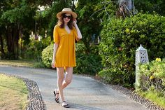 Get this look: http://lb.nu/look/8140645  More looks by Lorietta.cz: http://lb.nu/lorietta  Items in this look:  Zara Orange Dress, H&M Straw Hat   #bohemian #romantic