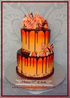Dark Chocolate, Orange & Sunshine - Cake by Mel_SugarandSpiceCakes Sunshine Birthday Cakes, Fall Birthday Cakes, Sunshine Cake, Novelty Birthday Cakes, Dark Chocolate Orange, Chocolate Drip, Fire Cake, Tolle Cupcakes, Funny Cake