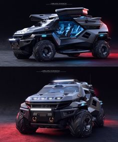 'armortruck' survival car concept combines the likeness of the cybertruck with the batmobile Fancy Cars, Cool Cars, Sports Cars Lamborghini, Armored Truck, Future Car, Future Concept Cars, Jeep Cars, Cyberpunk, Best Luxury Cars