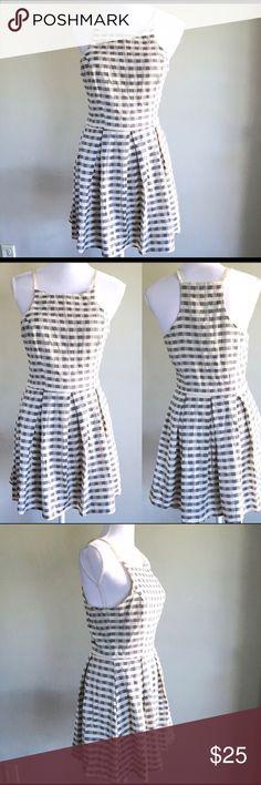 ANGL blue & white checker gingham print dress Reposhing, never been worn. Super cute! ANGL Dresses Midi