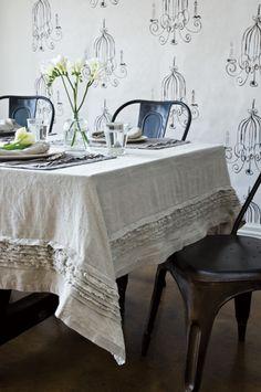 Our Vintage Home Love: Linen Tablecloths