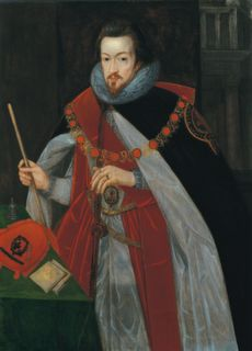 """Robert Cecil, Earl of Salisbury and son of William Cecil Lord Burghley. Elizabeth called Robert Cecil her """"pygmy"""" (she was fond of giving odd pet-names to those who were close to her) because of his abnormally small stature. This painting of Robert Cecil in his robes of The Order of The Garter is by John de Critz; It was completed c. 1608 in the reign of James I, under whom Robert Cecil also served. http://beingbess.blogspot.com/2012/04/theatre-thursday-essexs-rebellion-in.html"""