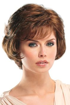 Shaggy Inclined Bang Short Attractive Curly Brown Capless Heat Resistant Fiber Wig For Women