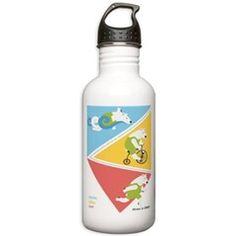 Triathlon Polar Bears Poster Water Bottle