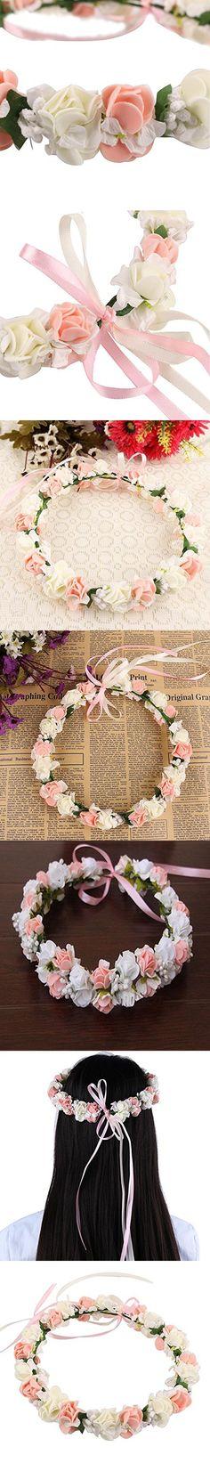 Ele Fanamskl Bridal Floral Wreath ith Adjustable Ribbon for Wedding Festivals