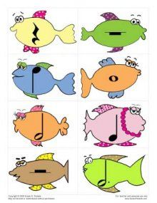 Rhythm matching game (and fish). Group lesson- use cards below on website