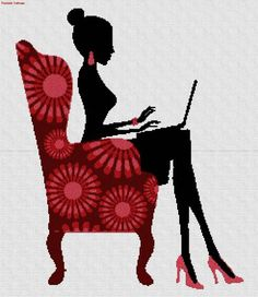0 point de croix silhouette fille sexy avec ordianteur dans fauteuil - cross stitch sexy girl with computer in armchair