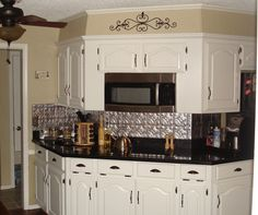 Kitchen Contemporary Small Decoration With Silver Black Tin Backsplash Including White Wood
