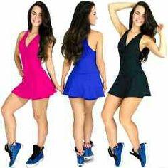 Macaquinho vestido  academia fitness short saia liso.