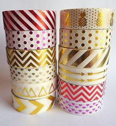 RED Gold Foil Washi Tape Masking Tape Crafts Shiny Stripes Hearts Pineapples 10M | eBay