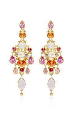 One of A Kind Pear Shape Pink Sapphire Chandelier Earrings by Mallary Marks - Moda Operandi