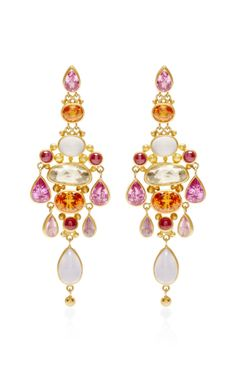 One of A Kind Pear Shape Pink Sapphire Chandelier Earrings by Mallary Marks - Moda Operandi