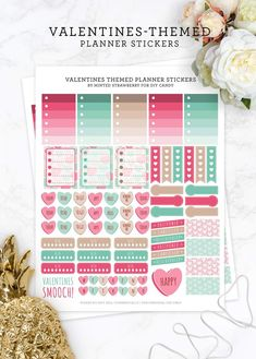 Download these Valentines-themed stickers for planners - this printable is jam-packed with a bunch of useful labels, boxes and cute hearts. via @diy_candy