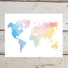 Large world map poster print or printable with watercolour texture world map world map poster watercolor rainbow by catstacher gumiabroncs Gallery
