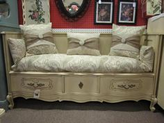dresser made into bench @Darla Schwietert look for dresser like this so we can give it a try
