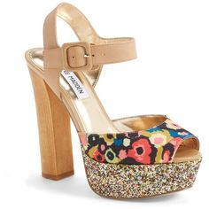 Steve Madden 'Jillyy' Platform Sandal ($60) ❤ liked on Polyvore featuring shoes, sandals, floral multi, suede shoes, platform shoes, floral high heel sandals, strappy platform sandals and high heel sandals