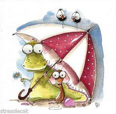 Original-watercolor-painting-art-illustration-mouse-dragon-crow-red-umbrella