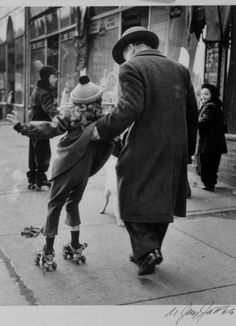 N. Jay Jaffee - Girl Learning to Skate, Livonia Avenue, East New York, 1950. °