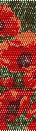 Poppies beading cuff bracelet pattern for peyote OR by garbanke, $4.00