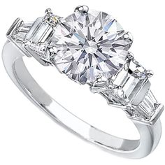Round diamond Engagement Ring setting with Emerald and Baguette Cut Diamonds 0.65 tcw.