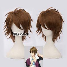IDOLISH7 Tsunashi Brown Short Style Costume Fashion Party Cosplay Wig + Wig Cap #Aicos #FullWig