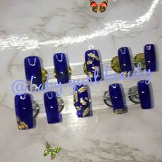Royalty Press on Nail set by Baby.gurlbeauty<br> Long Square Acrylic Nails, Bright Summer Acrylic Nails, Classy Acrylic Nails, Classy Nails, Diy Nails Manicure, Coffin Nails Ombre, Ring Finger Nails, Nail Set, Yellow Nails