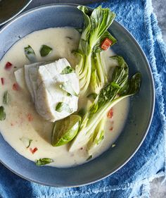 Halibut With Bok Choy and Green Curry-Coconut Broth | It can be tempting to skip…