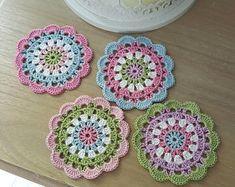 4 Crochet coasters NEW handmade Shabby Chic Vintage Pastel Crochet Coaster Pattern, Crochet Square Patterns, Doily Patterns, Crochet Motif, Crochet Doilies, Crochet Flowers, Crochet Stitches, Crochet Home, Crochet Gifts