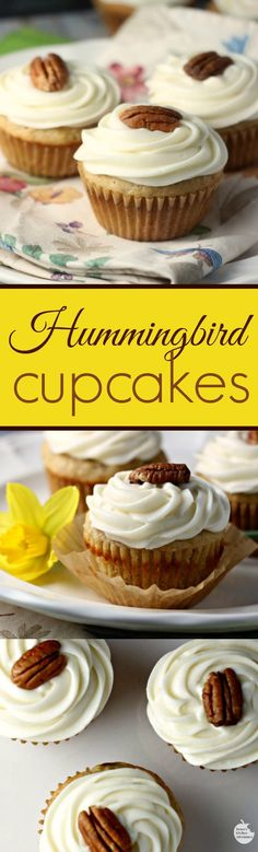 Hummingbird Cupcakes | by Renee's Kitchen Adventures - Easy dessert recipe for delicious, full of fruit cupcakes!