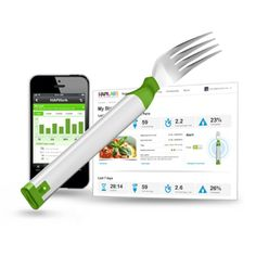 "TRACK YOUR EATING WITH 'HAPIFORK' - an electronic fork that will monitor your eating habits and tell you when you might want to take a breather with that pasta dish.  The Hapifork includes indicator lights that will flash when you're eating too fast. Sensors within the device will measure how long it took you to eat a meal, how many times you put food in your mouth per minute, and the intervals between those ""fork servings."" All the data is uploaded via USB or Bluetooth to an online profile."