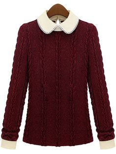 Red Contrast Lapel Cable Knit Sweater US$30.49