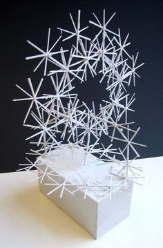 Linear Sculpture- made with glued together and painted toothpicks