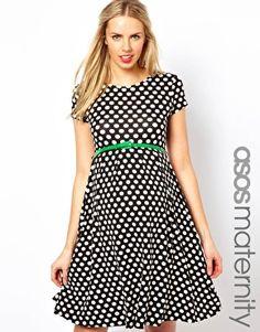 Enlarge ASOS Maternity Exclusive Spot Skater Dress With Belt
