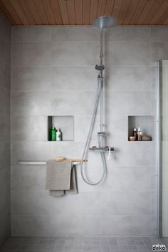 Bathroom - with Oras Cubista thermostatic shower faucet + Oras Hydra rain shower. Water is worth Loving!