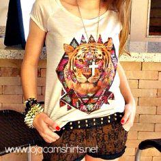 T-shirt Feminina Tigre Étnico, Tecido Flamê - Cam Shirts