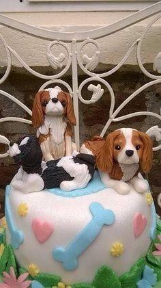 With yorkie instead Puppy Birthday Cakes, Puppy Birthday Parties, King Charles Spaniel, Cavalier King Charles, Puppy Dog Cakes, All About Puppies, Baby Animals, Cute Animals, Beautiful Birthday Cakes