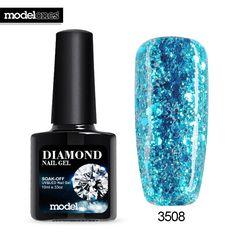 Modelones 10ML Diamond Glitter UV Nail Gel Polish Soak Off UV Gel Nail Polish Long Lasting UV Nail Varnish Need UV Lamp Gel