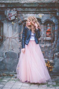 pink tutu skirt + leather jacket