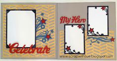 CTMH Cricut Artbooking Celebrate My Hero Layout.  www.scrapwithsue.blogspot.com