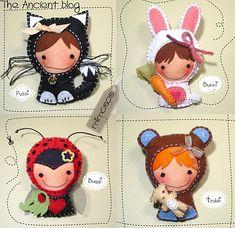 Muñecos de fieltro disfrazados de animales