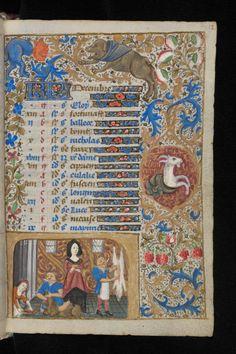 DECEMBRE - Book of Hours, 3rd quarter 15th cent, Ms. lat. 33, fl. 12r, Bibl. de Genève