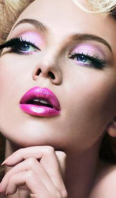 Pink lipstick and eye shadow !