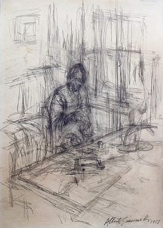 artnet Galleries: La mre de lartiste, stampa by Alberto Giacometti from Peter Findlay Gallery Alberto Giacometti, Graphite Drawings, Art Drawings, Contour Drawings, Charcoal Drawings, Drawing Faces, Art And Illustration, Life Drawing, Painting & Drawing